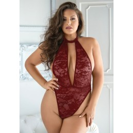 Body rosso in pizzo e maglia